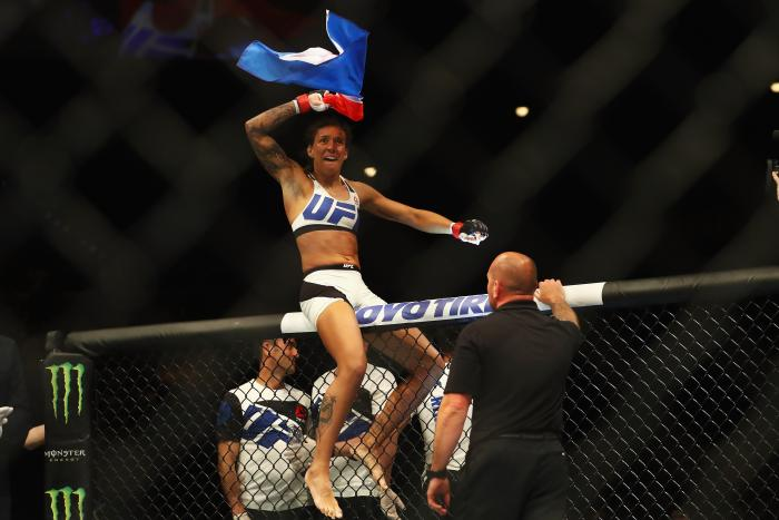 Germaine de Randamie celebrates during the UFC Fight Night 87 at Ahoy on May 8, 2016 in Rotterdam, Netherlands.