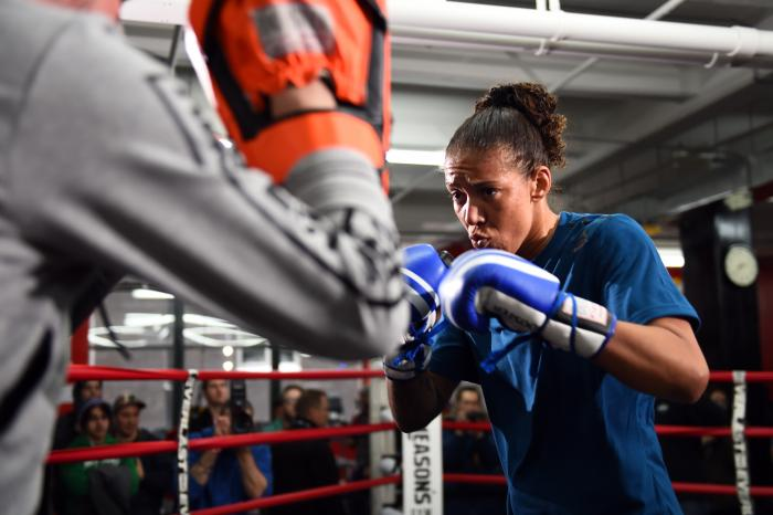 BROOKLYN, NY - FEBRUARY 09:  Germaine de Randamie of The Netherlands holds an open workout for fans and media at Gleason's Gym on February 9, 2017 in Brooklyn, New York. (Photo by Jeff Bottari/Zuffa LLC via Getty Images)