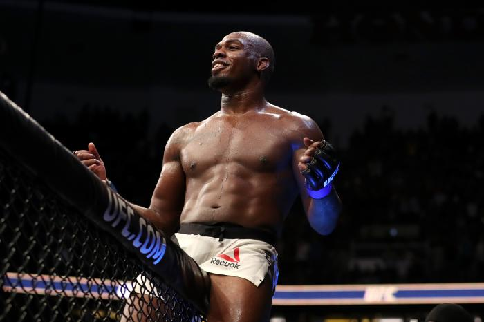 Jon Jones celebrates during the UFC 214 event at Honda Center on July 29, 2017 in Anaheim, California.