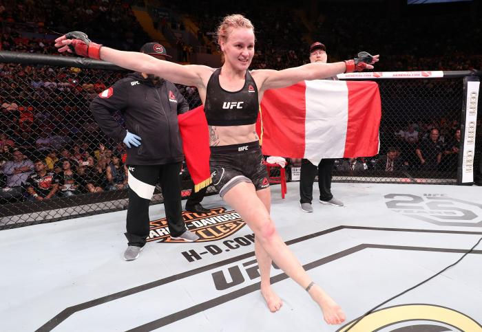 BELEM, BRAZIL - FEBRUARY 03:  Valentina Shevchenko of Kyrgyzstan celebrates her victory over Priscila Cachoeira of Brazil in their women's flyweight bout during the UFC Fight Night event at Mangueirinho Arena on February 03, 2018 in Belem, Brazil. (Photo by Buda Mendes/Zuffa LLC via Getty Images)