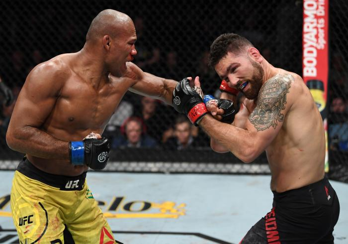 NEW YORK, NY - NOVEMBER 03:  (L-R) Ronaldo Souza of Brazil punches Chris Weidman in their middleweight bout during the UFC 230 event inside Madison Square Garden on November 3, 2018 in New York, New York. (Photo by Jeff Bottari/Zuffa LLC via Getty Images)