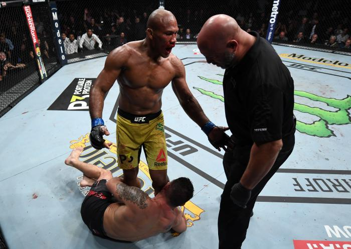 NEW YORK, NY - NOVEMBER 03:  Ronaldo Souza of Brazil pleads with referee Dan Miragliotta to stop the fight after dropping Chris Weidman with a punch in their middleweight bout during the UFC 230 event inside Madison Square Garden on November 3, 2018 in New York, New York. (Photo by Jeff Bottari/Zuffa LLC via Getty Images)