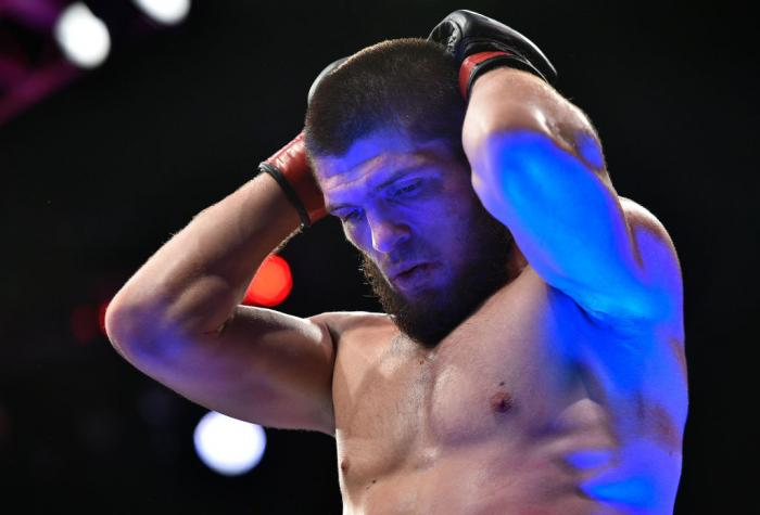 BROOKLYN, NEW YORK - APRIL 07:  Khabib Nurmagomedov of Russia reacts after his dominating performance over Al Iaquinta in their lightweight title bout during the UFC 223 event inside Barclays Center on April 7, 2018 in Brooklyn, New York. (Photo by Brando