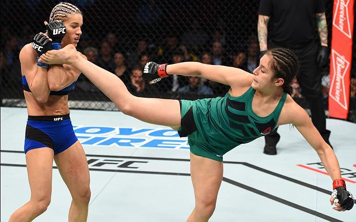 HOUSTON, TX - FEBRUARY 04:  (R-L) Alexa Grasso of Mexico kicks Felice Herrig in their women's strawweight bout during the UFC Fight Night event at the Toyota Center on February 4, 2017 in Houston, Texas. (Photo by Jeff Bottari/Zuffa LLC/Zuffa LLC via Gett