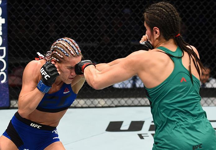 HOUSTON, TX - FEBRUARY 04:  (R-L) Alexa Grasso of Mexico punches Felice Herrig in their women's strawweight bout during the UFC Fight Night event at the Toyota Center on February 4, 2017 in Houston, Texas. (Photo by Jeff Bottari/Zuffa LLC/Zuffa LLC via Ge