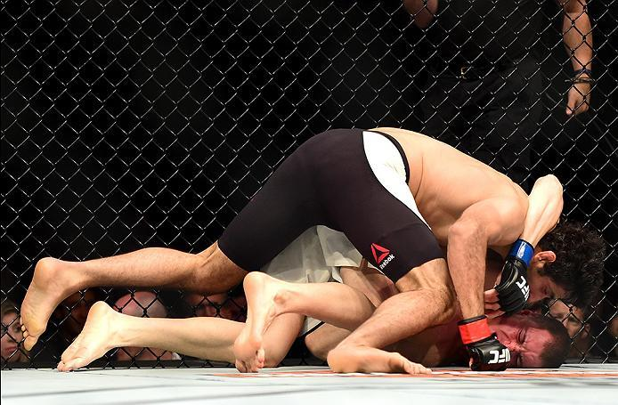 INGLEWOOD, CA - JUNE 04: Beneil Darush of Iran wrestles James Vick in their lightweight bout during the UFC 199 event at The Forum on June 4, 2016 in Inglewood, California.  (Photo by Harry How/Zuffa LLC/Zuffa LLC via Getty Images)