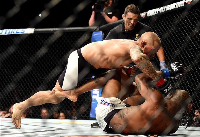 INGLEWOOD, CA - JUNE 04:  Dustin Poirier wrestles Bobby Green in their lightweight bout during the UFC 199 event at The Forum on June 4, 2016 in Inglewood, California.  (Photo by Harry How/Zuffa LLC/Zuffa LLC via Getty Images)