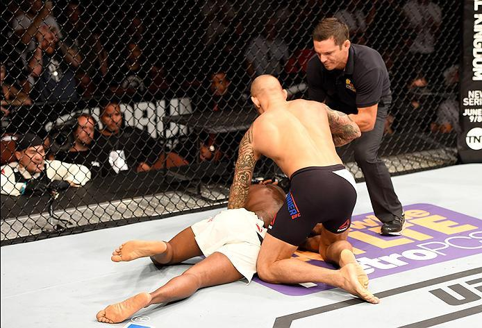 INGLEWOOD, CA - JUNE 04: Bobby Green lays in the ring after his TKO defeat in the frist round to Dustin Poirier in their lightweight bout during the UFC 199 event at The Forum on June 4, 2016 in Inglewood, California.  (Photo by Josh Hedges/Zuffa LLC/Zuff