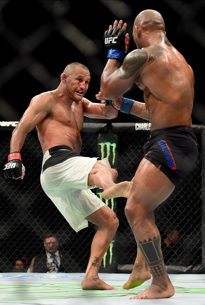 INGLEWOOD, CA - JUNE 04:  Dan Henderson kicks Hector Lombard of Cuba in their middleweight bout during the UFC 199 event at The Forum on June 4, 2016 in Inglewood, California.  (Photo by Harry How/Zuffa LLC/Zuffa LLC via Getty Images)