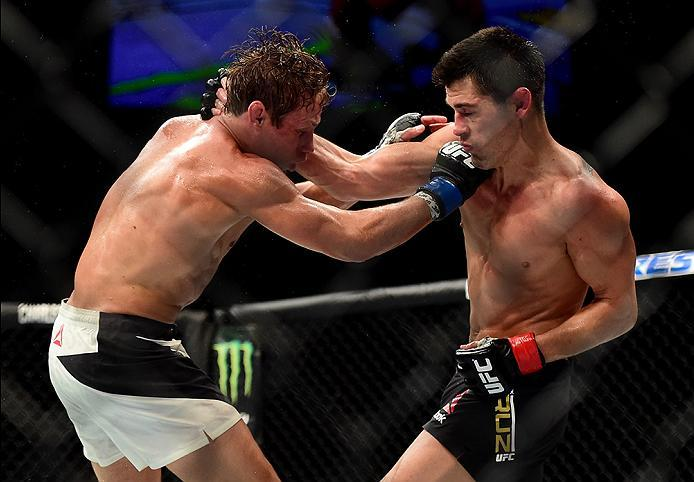 INGLEWOOD, CA - JUNE 04:  Urijah Faber and Dominick Cruz exchange blows in their UFC bantamweight championship bout during the UFC 199 event at The Forum on June 4, 2016 in Inglewood, California.  (Photo by Harry How/Zuffa LLC/Zuffa LLC via Getty Images)