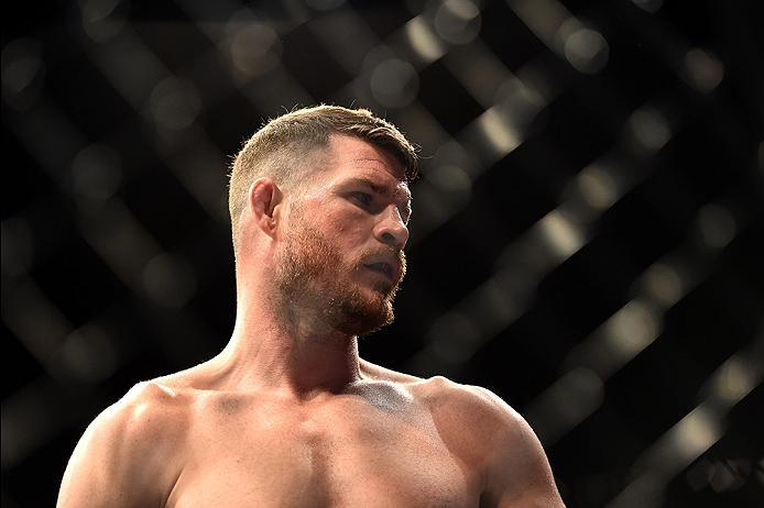 INGLEWOOD, CA - JUNE 04:  Michael Bisping of England prepares in the Octagon for his fight against Luke Rockhold in their UFC middleweight championship bout during the UFC 199 event at The Forum on June 4, 2016 in Inglewood, California.  (Photo by Harry H