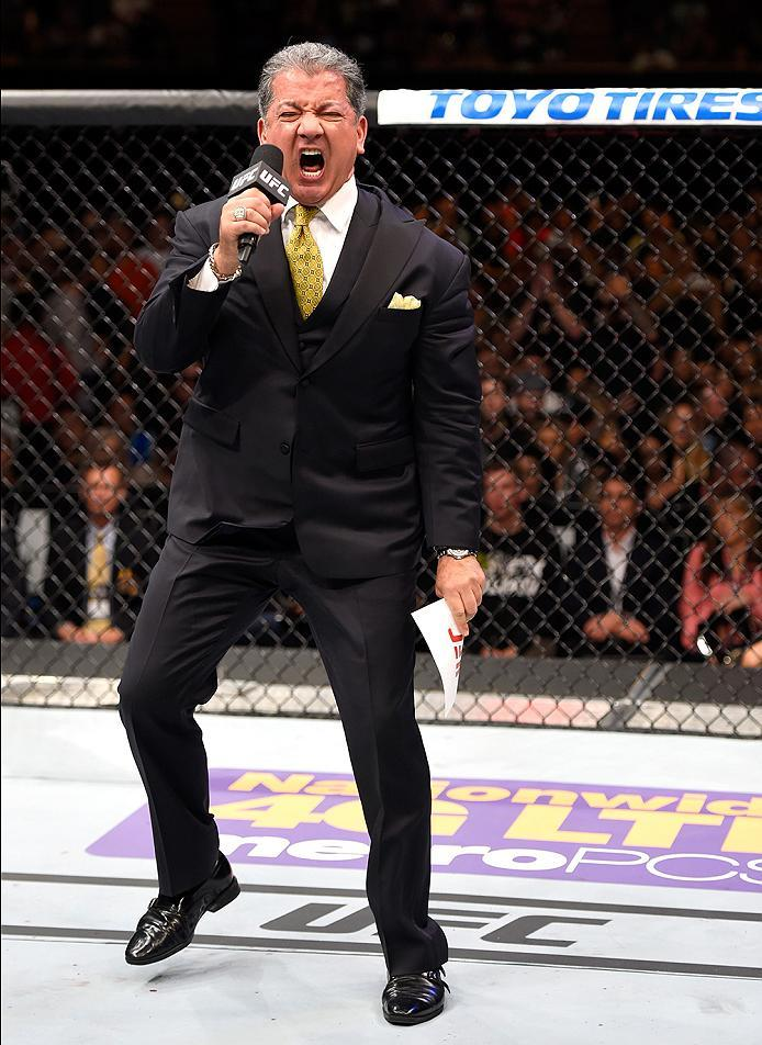 INGLEWOOD, CA - JUNE 04:  Bruce Buffer announces the main event in the Octagon for the UFC middleweight championship bout between Luke Rockhold and Michael Bisping during the UFC 199 event at The Forum on June 4, 2016 in Inglewood, California.  (Photo by