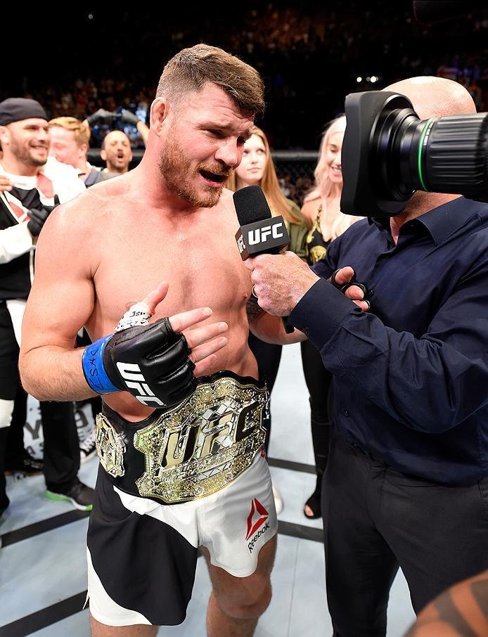 INGLEWOOD, CA - JUNE 04:  Michael Bisping of England speaks after his first round knockout win against Luke Rockhold in their UFC middleweight championship bout during the UFC 199 event at The Forum on June 4, 2016 in Inglewood, California.  (Photo by Jos