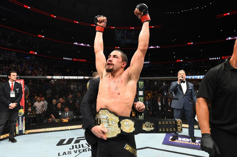 CHICAGO, ILLINOIS - JUNE 09:  Robert Whittaker of New Zealand celebrates after defeating Yoel Romero of Cuba by split decision in their middleweight fight during the UFC 225 event at the United Center on June 9, 2018 in Chicago, Illinois. (Photo by Josh Hedges/Zuffa LLC/Zuffa LLC via Getty Images)