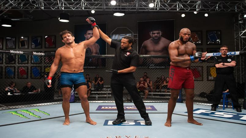 LAS VEGAS, NV - AUGUST 15:  (L-R) Juan Francisco Espino Diepa of Spain celebrates his victory over Maurice Greene during the filming of The Ultimate Fighter: Heavy Hitters on August 15, 2018 in Las Vegas, Nevada. (Photo by Chris Unger/Zuffa LLC/Zuffa LLC via Getty Images)