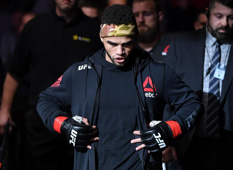 MONCTON, NB - OCTOBER 27: Te Edwards prepares to fight Don Madge of South Africa in their lightweight bout during the UFC Fight Night event inside Avenir Centre on October 27, 2018 in Moncton, New Brunswick, Canada. (Photo by Jeff Bottari/Zuffa LLC/Zuffa LLC via Getty Images)