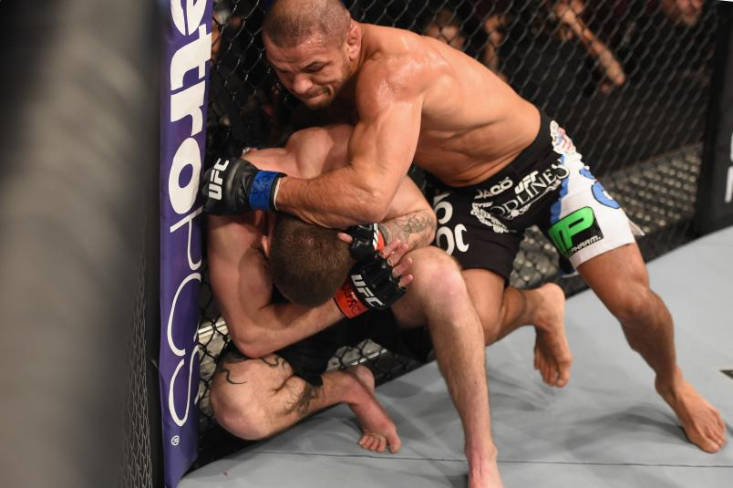 LAS VEGAS, NV - JANUARY 31: Thiago Alves (top) punches Jordan Mein in their welterweight bout during the UFC 183 event at the MGM Grand Garden Arena on January 31, 2015 in Las Vegas, Nevada. (Photo by Josh Hedges/Zuffa LLC/Zuffa LLC via Getty Images)