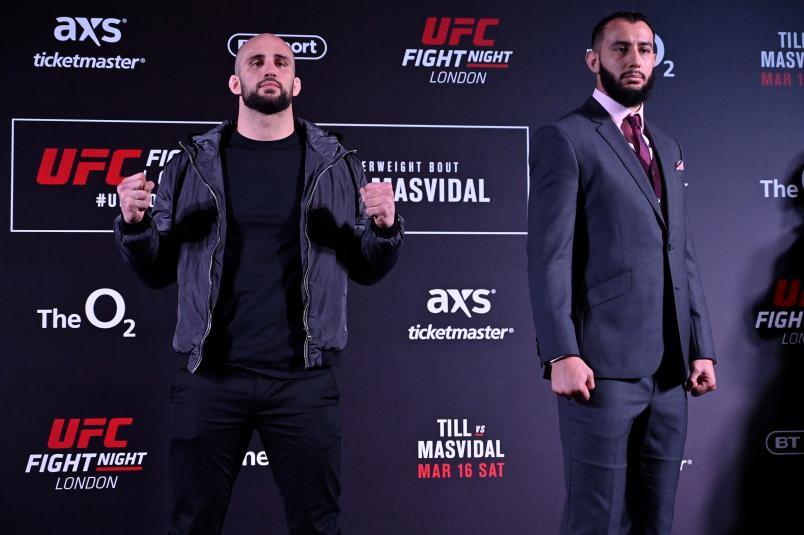 (L-R) Volkan Oezdemir of Switzerland and Dominick Reyes pose for media during the UFC Fight Night Ultimate Media Day at Glaziers Hall on March 14, 2019 in London, England. (Photo by Jeff Bottari/Zuffa LLC/Zuffa LLC via Getty Images)