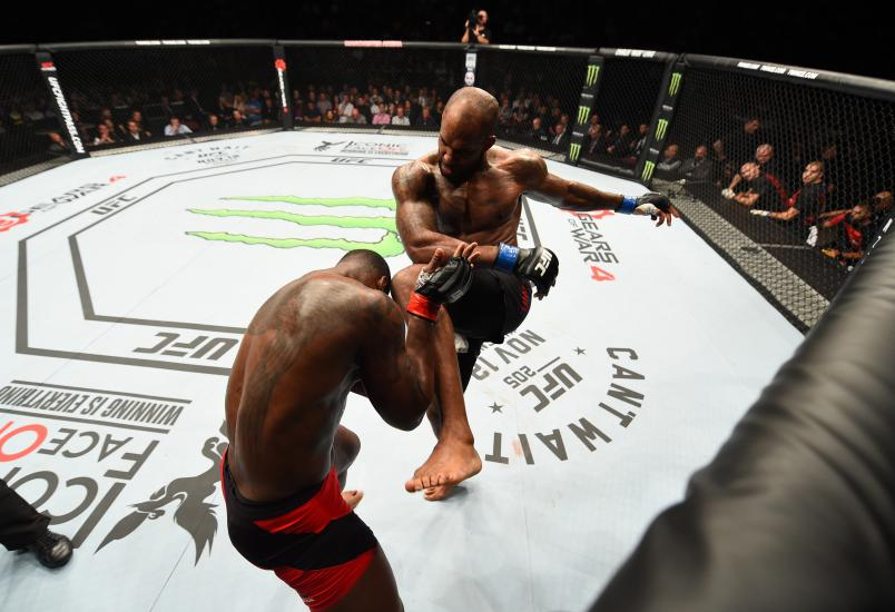 MANCHESTER, ENGLAND - OCTOBER 08: (R-L) Jimi Manuwa of England knees Ovince Saint Preux in their light heavyweight bout during the UFC 204 Fight Night at the Manchester Evening News Arena on October 8, 2016 in Manchester, England. (Photo by Josh Hedges/Zuffa LLC/Zuffa LLC via Getty Images)