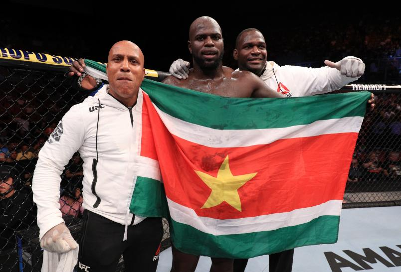FORTALEZA, BRAZIL - FEBRUARY 02: Jairzinho Rozenstruik of Suriname celebrates after his knockout victory over Junior Albini of Brazil in their heavyweight fight during the UFC Fight Night event at CFO Centro de Formacao Olimpica on February 2, 2019 in Fortaleza, Brazil. (Photo by Buda Mendes/Zuffa LLC/Zuffa LLC via Getty Images)