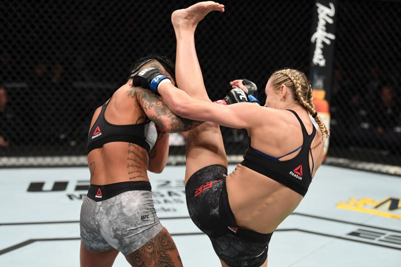PHOENIX, ARIZONA - FEBRUARY 17: (R-L) Andrea Lee kicks Ashlee Evans-Smith in their women's flyweight bout during the UFC Fight Night event at Talking Stick Resort Arena on February 17, 2019 in Phoenix, Arizona. (Photo by Josh Hedges/Zuffa LLC/Zuffa LLC via Getty Images)