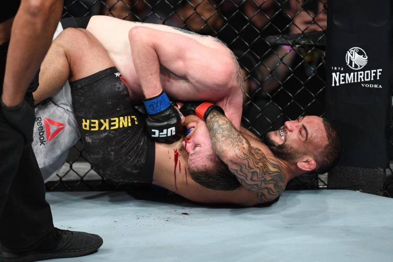 SUNRISE, FL - APRIL 27: (R-L) John Lineker of Brazil attempts to submit Cory Sandhagen in their bantamweight bout during the UFC Fight Night event at BB&T Center on April 27, 2019 in Sunrise, Florida. (Photo by Jeff Bottari/Zuffa LLC/Zuffa LLC via Getty Images)
