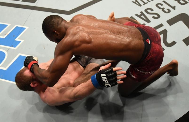 Leon Edwards of England punches Gunnar Nelson of Iceland in their welterweight bout during the UFC Fight Night event at The O2 Arena on March 16, 2019 in London, England. (Photo by Jeff Bottari/Zuffa LLC)
