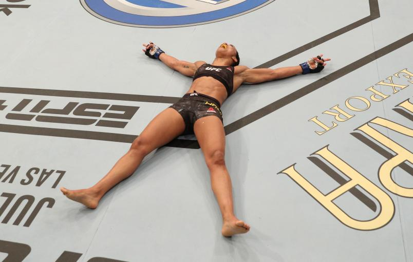 RIO DE JANEIRO, BRAZIL - MAY 11: Viviane Araujo of Brazil reacts after her TKO victory over Talita Bernardo of Brazil in their women's bantamweight bout during the UFC 237 event at Jeunesse Arena on May 11, 2019 in Rio De Janeiro, Brazil. (Photo by Buda Mendes/Zuffa LLC/Zuffa LLC via Getty Images)