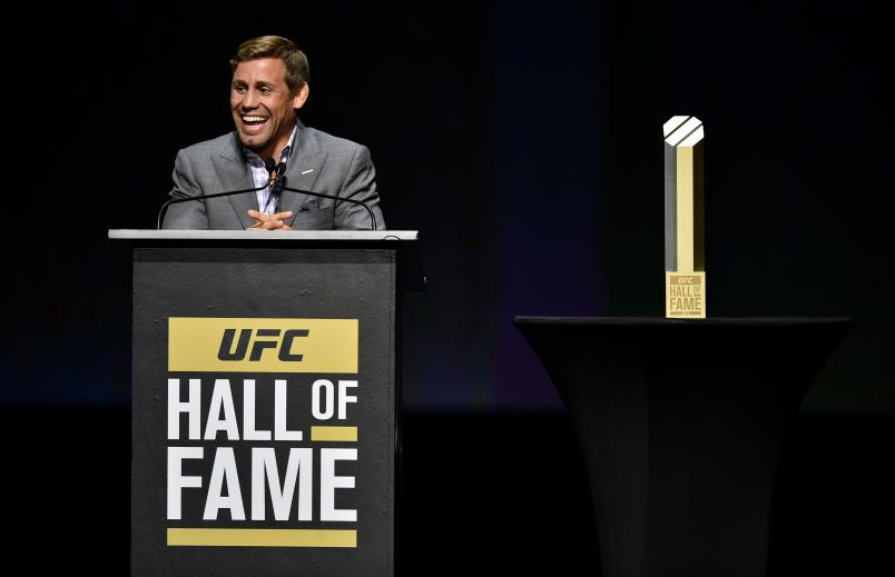 LAS VEGAS, NV - JULY 06: Urijah Faber gives his acceptance speech to the crowd during the UFC Hall of Fame 2017 Induction Ceremony at the Park Theater on July 6, 2017 in Las Vegas, Nevada. (Photo by Jeff Bottari/Zuffa LLC/Zuffa LLC via Getty Images)