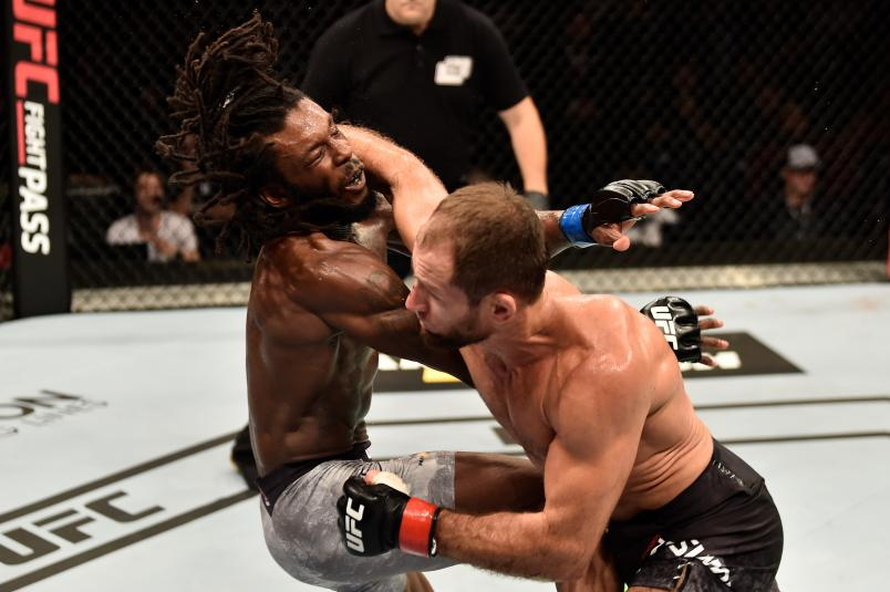 MOSCOW, RUSSIA - SEPTEMBER 15: (R-L) Mairbek Taisumov of Russia punches Desmond Green in their lightweight bout during the UFC Fight Night event at Olimpiysky Arena on September 15, 2018 in Moscow, Russia. (Photo by Jeff Bottari/Zuffa LLC/Zuffa LLC via Getty Images)