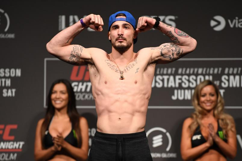 STOCKHOLM, SWEDEN - MAY 31: Danilo Belluardo of Italy poses on the scale during the UFC Fight Night weigh-in at Ericsson Globe on May 31, 2019 in Stockholm, Sweden. (Photo by Jeff Bottari/Zuffa LLC/Zuffa LLC via Getty Images)