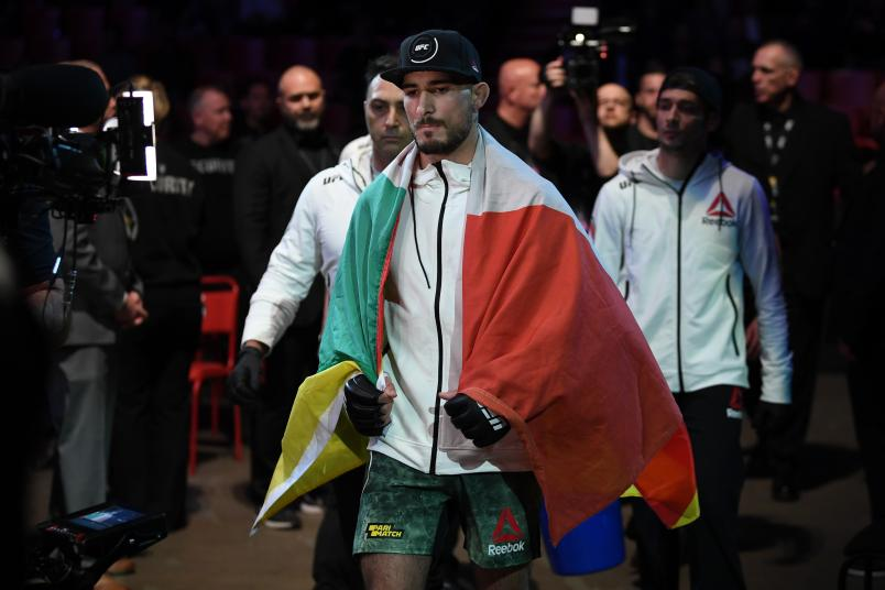 STOCKHOLM, SWEDEN - JUNE 01: Danilo Belluardo of Italy walks to the Octagon prior to his lightweight bout against Joel Alvarez of Spain during the UFC Fight Night event at Ericsson Globe on June 1, 2019 in Stockholm, Sweden. (Photo by Jeff Bottari/Zuffa LLC/Zuffa LLC via Getty Images)
