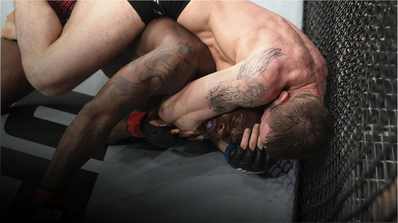 Nikita Krylov of Ukraine attempts to submit Ovince Saint Preux in their light heavyweight bout during the UFC 236 event at State Farm Arena on April 13, 2019 in Atlanta, Georgia. (Photo by Josh Hedges/Zuffa LLC)