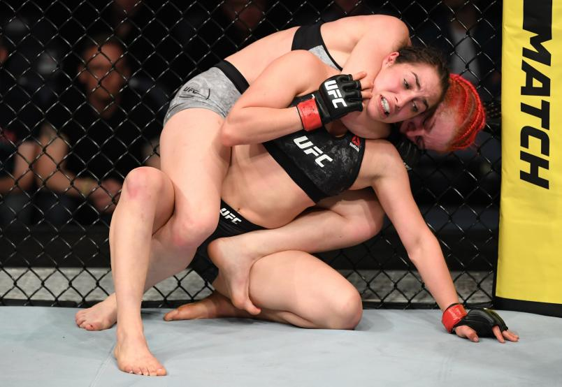 Gillian Robertson of Canada secures a rear choke submission against Veronica Macedo of Venezuela in their women's flyweight bout during the UFC Fight Night event at O2 Arena on February 23, 2019 in the Prague, Czech Republic. (Photo by Jeff Bottari/Zuffa LLC/Zuffa LLC via Getty Images)
