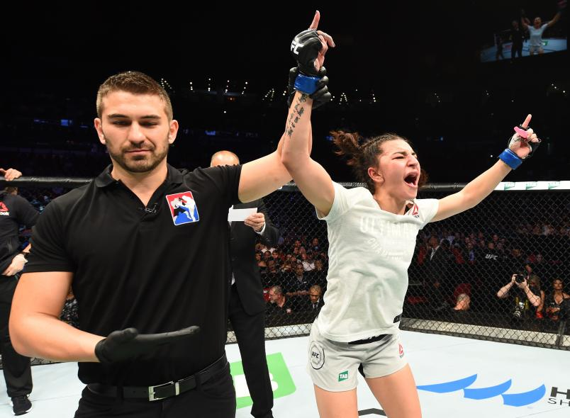 SYDNEY, AUSTRALIA - NOVEMBER 19: Nadia Kassem celebrates her victory over Alex Chambers of Australia in their women's strawweight bout during the UFC Fight Night event inside the Qudos Bank Arena on November 19, 2017 in Sydney, Australia. (Photo by Josh Hedges/Zuffa LLC/Zuffa LLC via Getty Images)