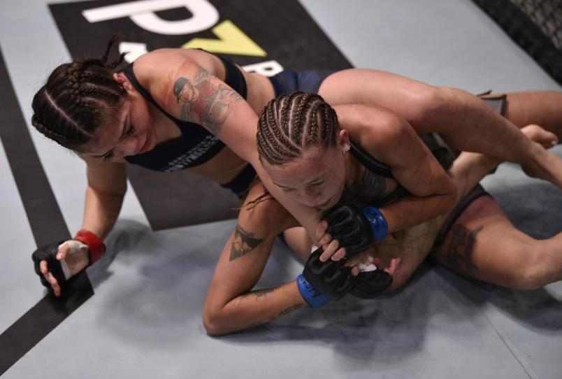 LAS VEGAS, NEVADA - JULY 30: (L-R) Tracy Cortez battles Mariya Agapova in their flyweight fight during Dana White's Contender Series Week Six at the UFC Apex on July 30, 2019 in Las Vegas, Nevada. (Photo by Chris Unger/DWCS LLC/Zuffa LLC)