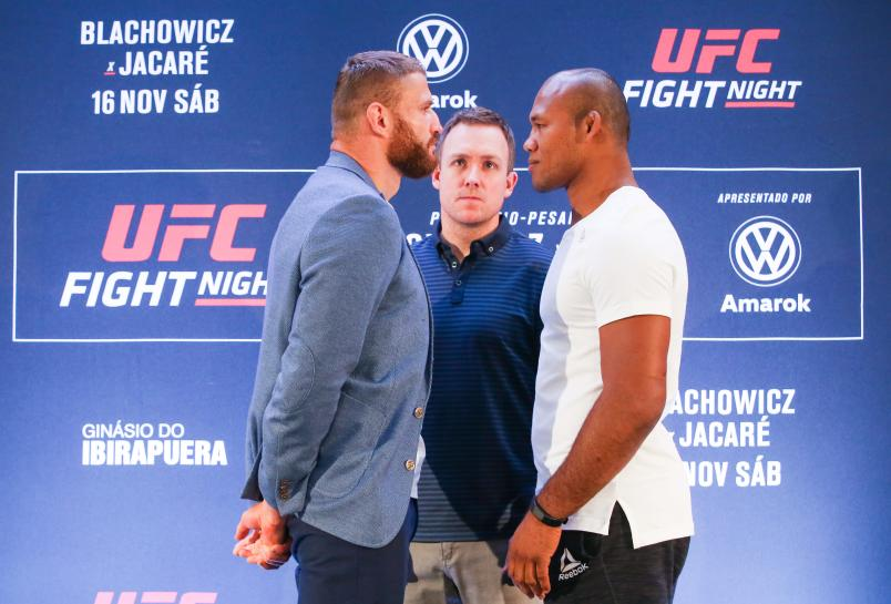 """Jan Blachowicz of Poland and Ronaldo """"Jacare""""Souza of Brazil face off during the Ultimate Media Day at Renaissance Hotel Sao Paulo on November 14, 2019 in Sao Paulo, Brazil. (Photo by Alexandre Schneider/Zuffa LLC via Getty Images)"""