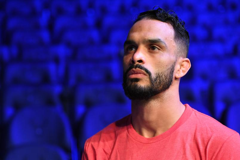 Rob Font waits backstage during the UFC Fight Night weigh-in at Fiserv Forum on December 14, 2018 in Milwaukee, Wisconsin. (Photo by Mike Roach/Zuffa LLC via Getty Images)