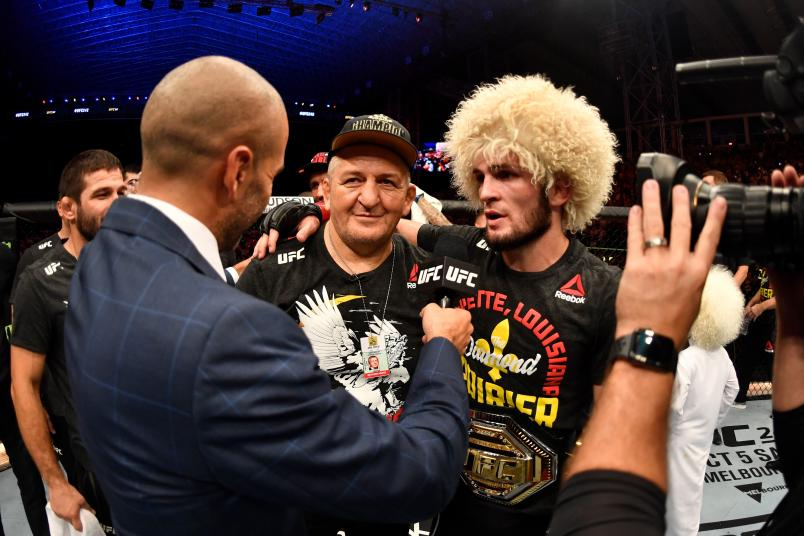 ABU DHABI, UNITED ARAB EMIRATES - SEPTEMBER 07: Khabib Nurmagomedov of Russia is interviewed after his submission victory over Dustin Poirier in their lightweight championship bout during UFC 242 at The Arena on September 7, 2019 in Yas Island, Abu Dhabi, United Arab Emirates. (Photo by Jeff Bottari/Zuffa LLC/Zuffa LLC via Getty Images)