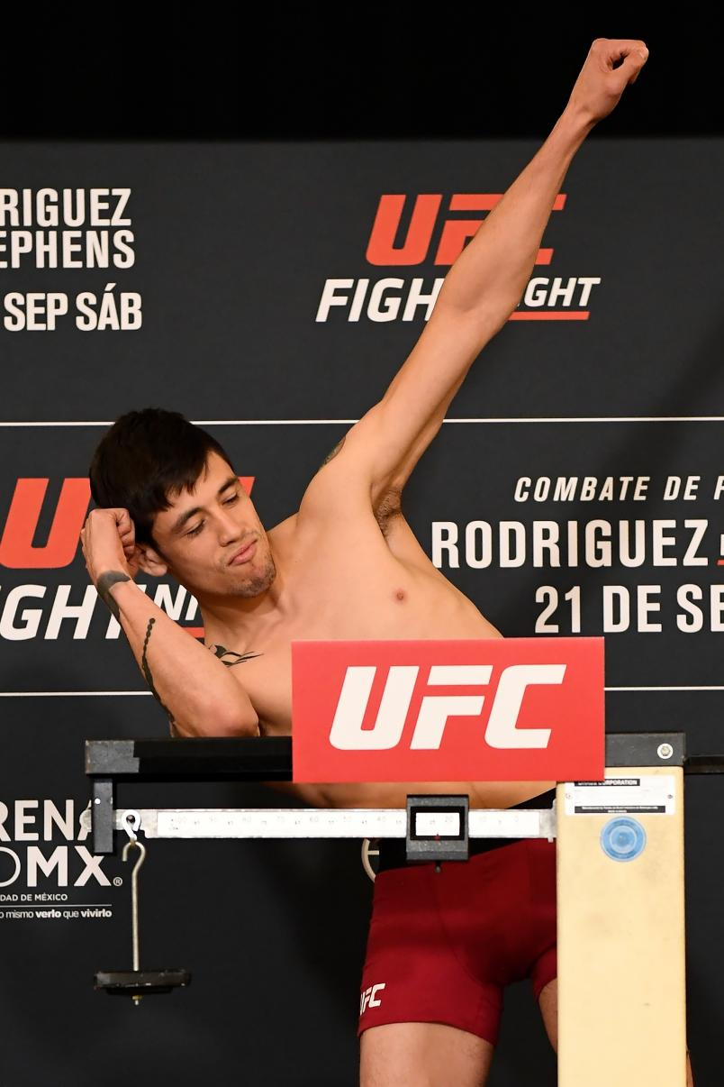 MEXICO CITY, MEXICO - SEPTEMBER 20: Brandon Moreno of Mexico poses on the scale during the UFC Fight Night weigh-in on September 20, 2019 in Mexico City, Mexico. (Photo by Mike Roach/Zuffa LLC/Zuffa LLC via Getty Images)