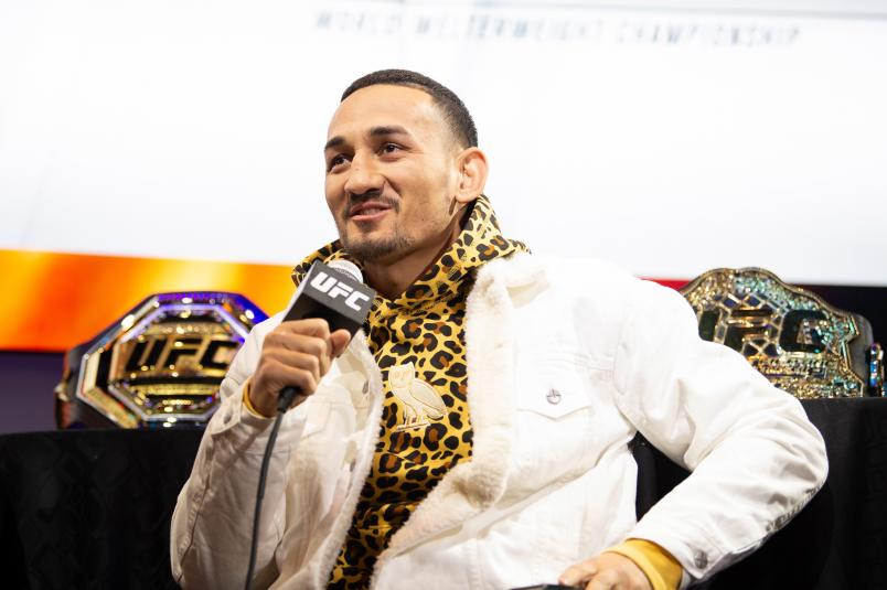 LAS VEGAS, NEVADA - DECEMBER 11: Max Holloway speaks to the media during the UFC 245 Athlete Panel at Level Up inside MGM Grand on December 11, 2019 in Las Vegas, Nevada. (Photo by Chris Unger/Zuffa LLC via Getty Images)