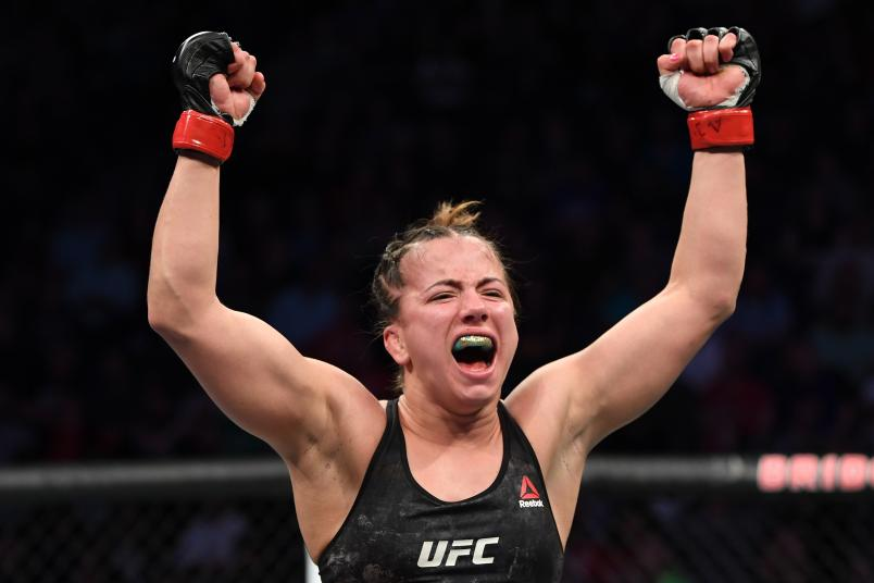 Maycee Barber celebrates her TKO victory over JJ Aldrich in their women's flyweight bout during the UFC Fight Night event at Bridgestone Arena on March 23, 2019 in Nashville, Tennessee. (Photo by Jeff Bottari/Zuffa LLC via Getty Images)