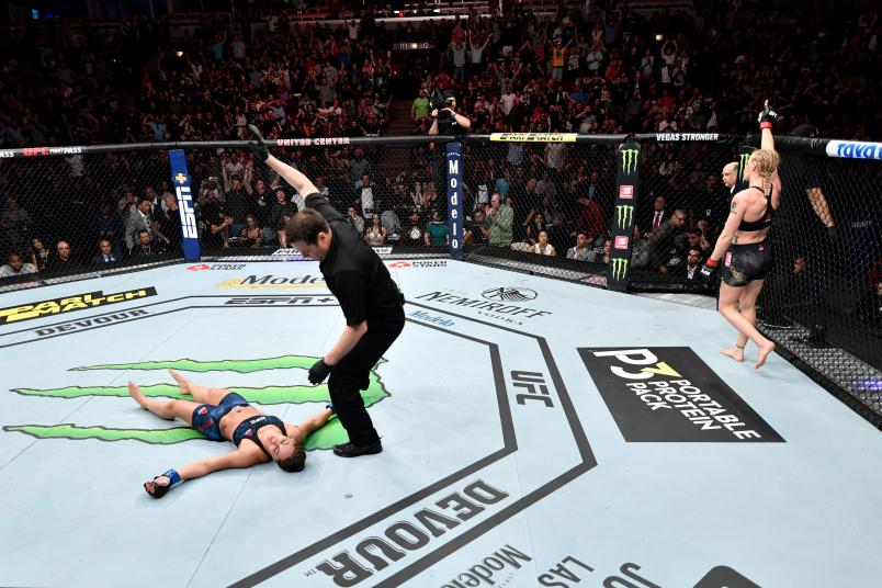 Valentina Shevchenko of Kyrgyzstan celebrates her KO victory over Jessica Eye in their women's flyweight championship bout during the UFC 238 event at the United Center on June 8, 2019 in Chicago, Illinois. (Photo by Jeff Bottari/Zuffa LLC via Getty Images)