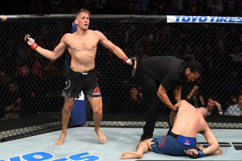 Niko Price celebrates his KO victory over James Vick in their welterweight bout during the UFC Fight Night event at Amalie Arena on October 12, 2019 in Tampa, Florida. (Photo by Josh Hedges/Zuffa LLC via Getty Images)