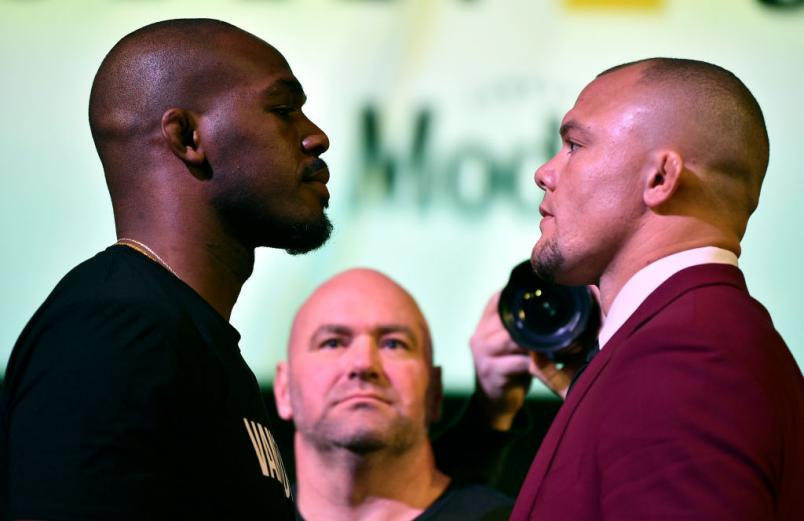 UFC 235 press conference face off Jon Jones vs Anthony Smith