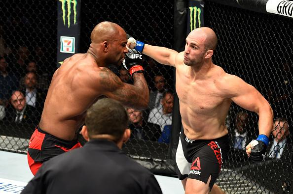Volkan Oezdemir of Switzerland punches Jimi Manuwa in their light heavyweight bout during the UFC 214 event at Honda Center on July 29, 2017 in Anaheim, California. (Photo by Josh Hedges/Zuffa LLC via Getty Images)