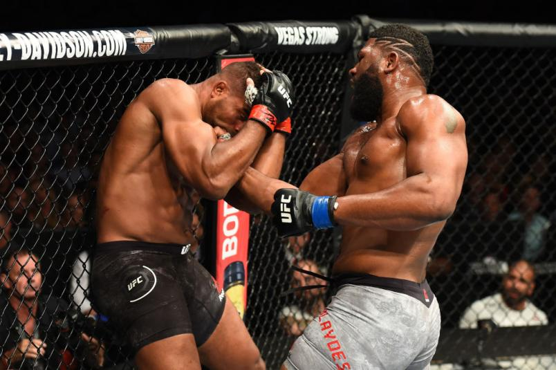 CHICAGO, ILLINOIS - JUNE 09:  (R-L) Curtis Blaydes punches Alistair Overeem in their heavyweight fight during the UFC 225 event at the United Center on June 9, 2018 in Chicago, Illinois. (Photo by Josh Hedges/Zuffa LLC/Zuffa LLC via Getty Images)