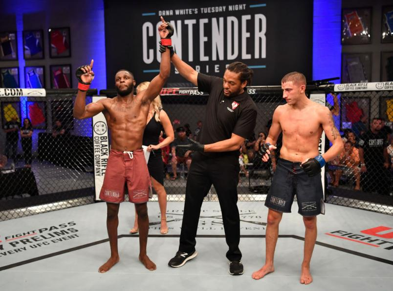 LAS VEGAS, NV - JUNE 12:  Montel Jackson celebrates after his TKO victory over Rico Disciullo in their bantamweight bout during Dana White's Tuesday Night Contender Series at the TUF Gym on June 12, 2018 in Las Vegas, Nevada. (Photo by Jeff Bottari/DWTNCS