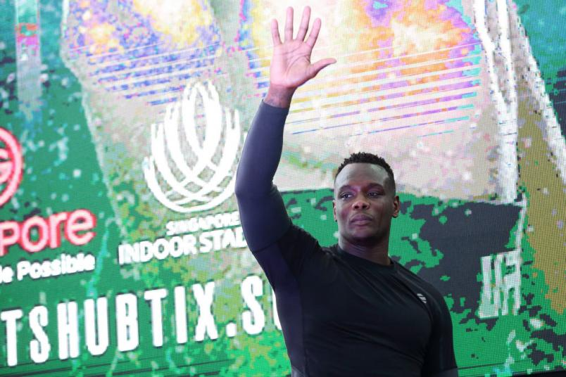 SINGAPORE - JUNE 20:  Ovince Saint Preux of United States participates in the UFC Fight Night Open Workout at OCBC Square on June 20, 2018 in Singapore.  (Photo by Suhaimi Abdullah - Zuffa LLC/Zuffa LLC)