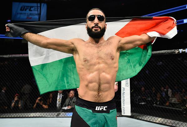 Belal Muhammad celebrates his victory over Jordan Mein in their welterweight bout during the UFC 213 event at T-Mobile Arena on July 8, 2017 in Las Vegas, Nevada.  (Photo by Jeff Bottari/Zuffa LLC)